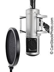 estúdio, microfone, estouro, filtro