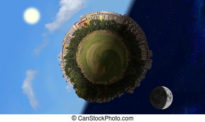 Tiny planet world panorama in day and night, seamless loop...