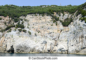 Island of tino near Portovenere, Italy - Cave at island of...