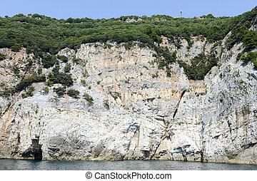 Island of tino near Portovenere, Italy - Cave at island of...
