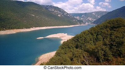 Aerial, Pivsko Jezero At Pluzine, Montenegro. Graded and...