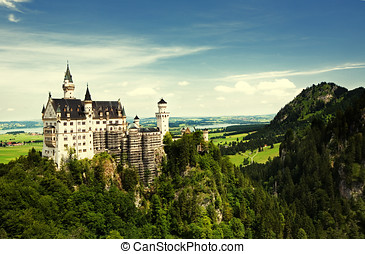 Neuschwanstein Castle in Germany, built for King Ludwig II,...