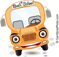 cartoon school bus character