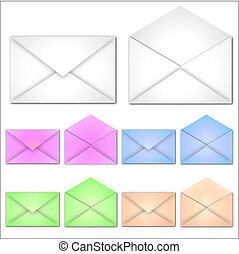 Image of various colorful envelopes isolated on a white background.
