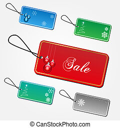 Image of various colorful Christmas tags isolated on a white background.