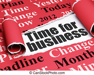 Timeline concept: black text Time for Business under the...