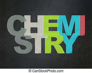 Education concept: Chemistry on School board background -...