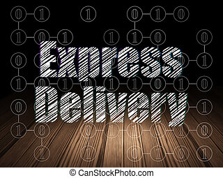 Finance concept: Express Delivery in grunge dark room -...