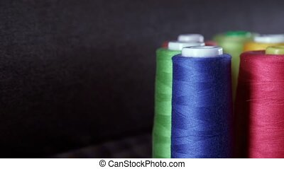 Shot of colorful rolls of woolen. Needlework, craft, sewing...