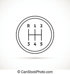 Manual transmission outline icon. Gear shifter icon