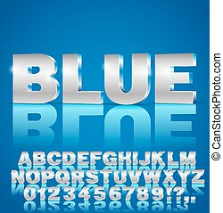 3d vector font - Blue metal style 3d isometric vector...