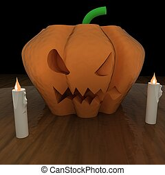 Jack O' Lantern pumpkin over table, with candles, 3d...