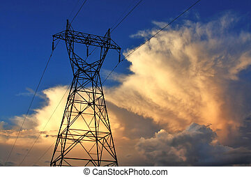 Powerline Sunset - Electric Sky over the city