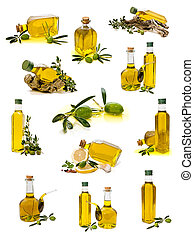 collection of olive oil on white background