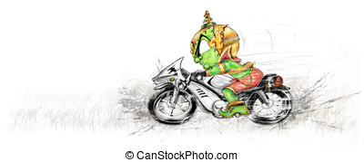 Siam Gumphant Thai Giant Ridding Big Bike Cartoon - Thai...