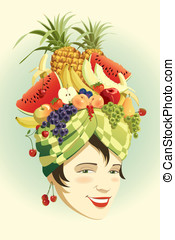Fruit hat - Vector art-illustration that represents the...