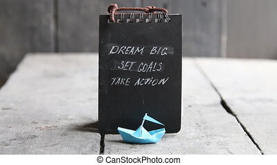Motivational Quote. Dream big, set goals, take action on...