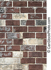old brick wall texture background - uneven and shabby old...