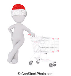 3D figure in hat with shopping cart over white