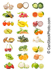 fruit collection - fruits collection on white background