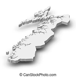 Map - Nordland (Norway) - 3D-Illustration - Map of Nordland,...