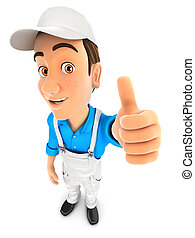 3d painter positive pose with thumb up, illustration with...