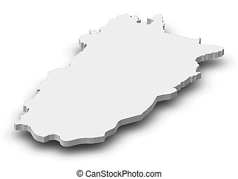 Map - Punjab (Pakistan) - 3D-Illustration - Map of Punjab, a...