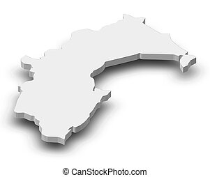 Map - Taranaki (New Zealand) - 3D-Illustration - Map of...