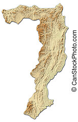 Relief map - Sayabouly (Laos) - 3D-Rendering