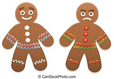 Gingerbread Man Happy Angry