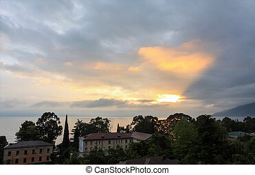 Sunset in the city of Gagra, Abkhazia