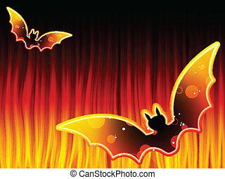 Halloween Background with Bats and Flames