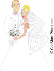 Newly Weds 3 - Vector Illustration. A beautiful bride and...