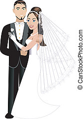 Newly Weds - Vector Illustration A beautiful bride and groom...