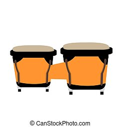 Isolated musical instrument - Isolated pair of conga drums,...