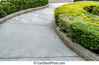 Concrete Pathway in garden - Curve concrete pathway with...