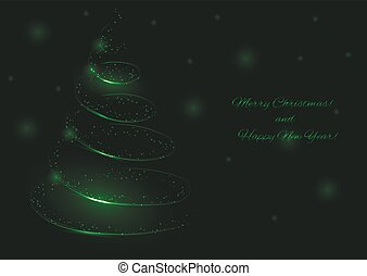 Golden tree illustration - Green Christmas tree. Happy New...