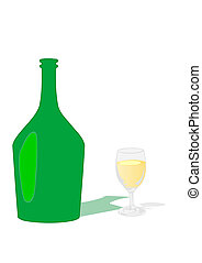 Vector illustration a glass with a drink and a bottle
