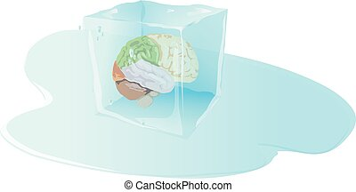 brain freeze,ice cube with inside human brain