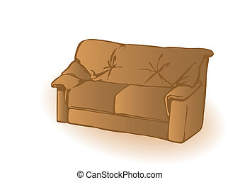 The vector leather brown sofa