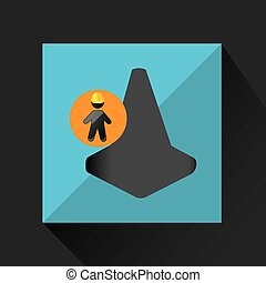 man silhouette helmet and cone design graphic vector...