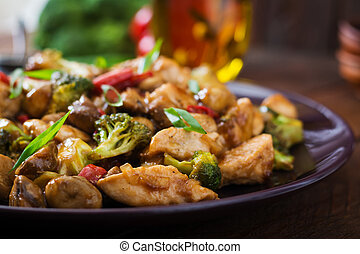 Stir fry with chicken, mushrooms, broccoli and peppers -...