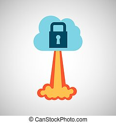 start up business cloud protection graphic isolated