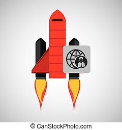 red rocket concept business globe person