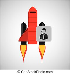 red rocket concept business character