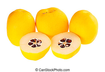 Five ripe flowering quince fruit isolated against white