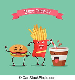 Best Friends Haburger, Fries and Soda Dancing