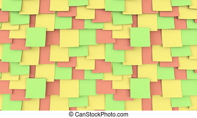 Multicolor post it stickers on the wall. Office work or reminder concepts. 4K seamless loop close up dolly clip