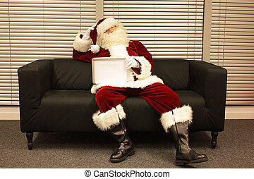 Santa Claus with  lack of motivation
