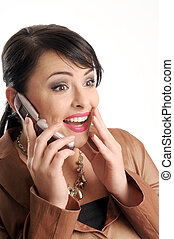 Atractive brunette woman with mobile phone